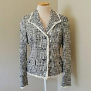 Rafaella Tweed fitted blazer frayed edge